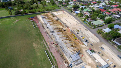 Photo aérienne par drone en Guadeloupe : Stade du Moule