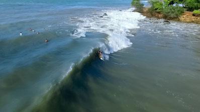 Photo aérienne par drone en Guadeloupe : surf Cluny